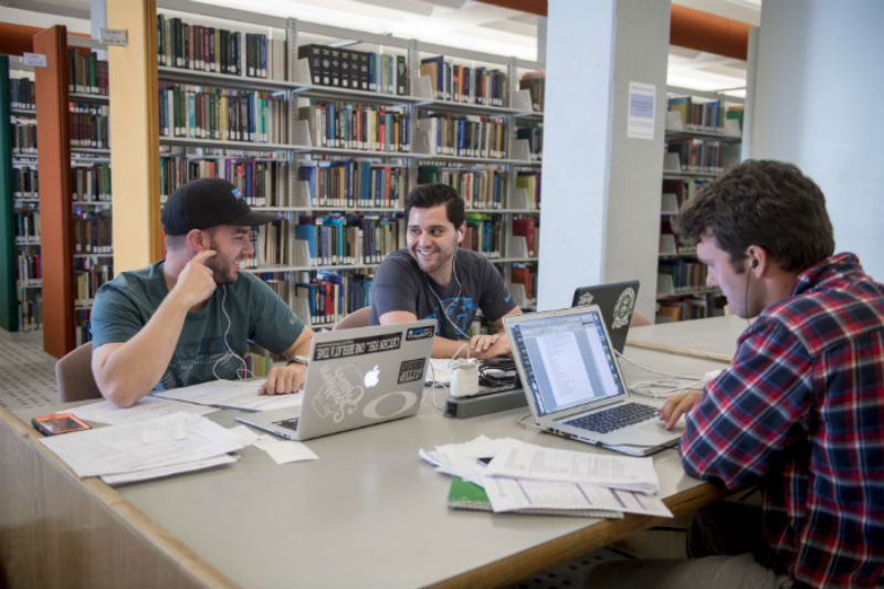Group of students study in the library