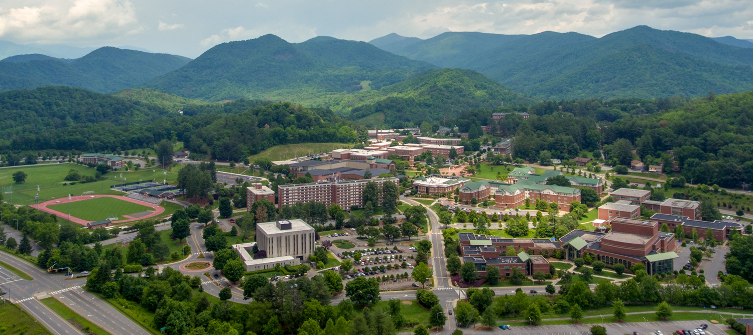 An aerial photograph from a drone of WCU's Cullowhee Campus